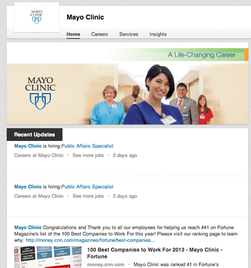 Mayo-Clinic-Company-Page 9 Ways to Market Your Medical or Dental Practice With LinkedIn