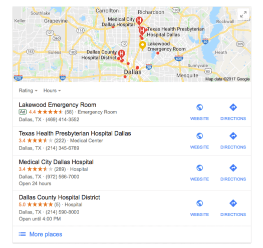 Local-SEO-Example-hospital-dallas-Google-Search How Patient Reviews Boost Local SEO for Healthcare Practices