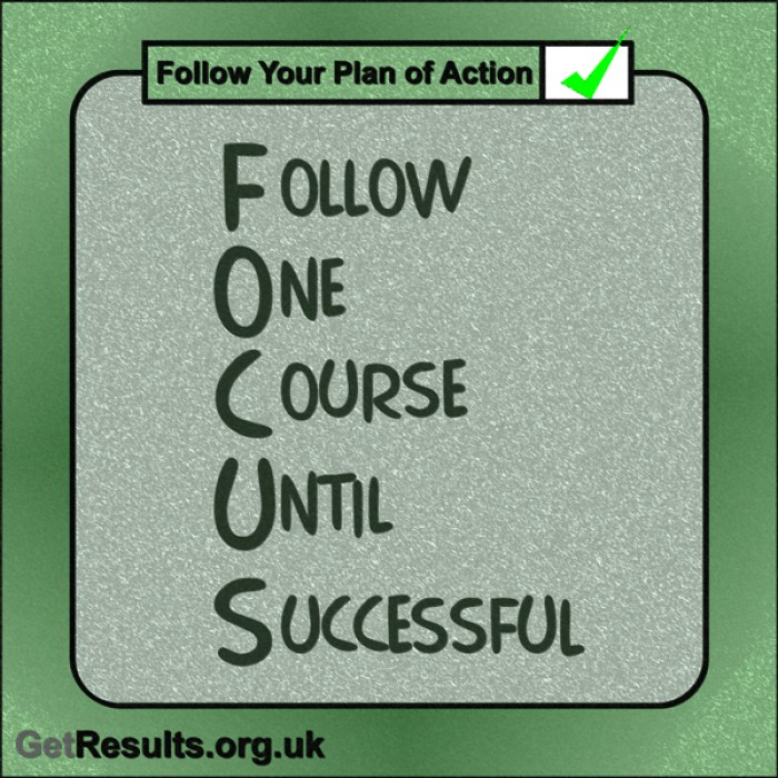 "Get Results: ""FOCUS – Follow One Course Until Successful."""