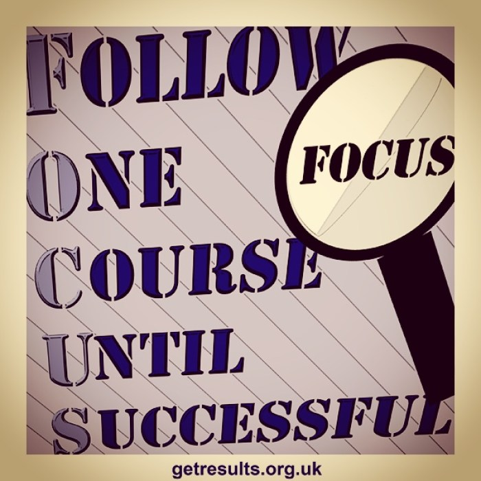 Get Results: Focus on one thing at a time - multi tasking is an illussionfollow one course until successful