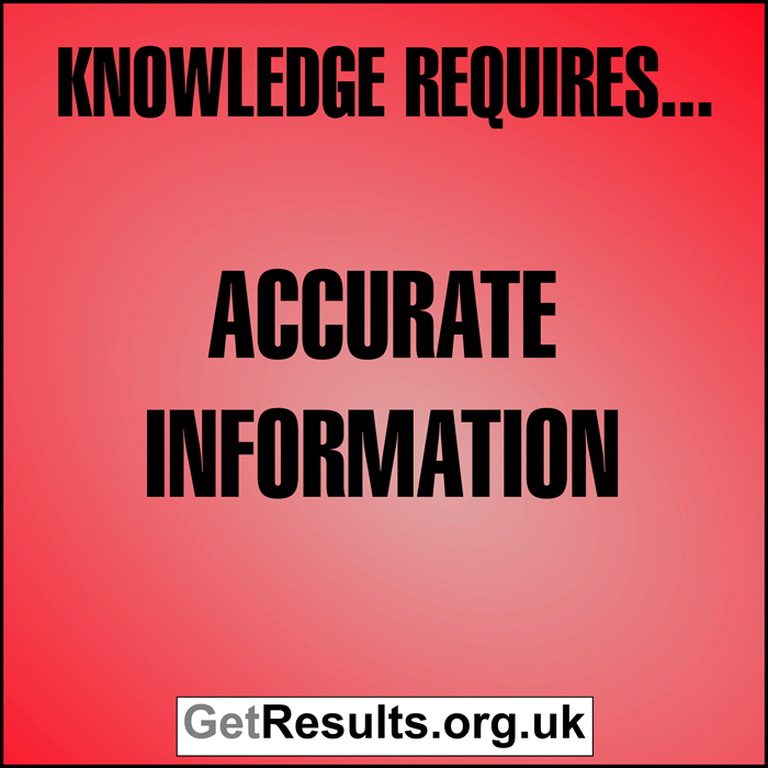 Get Results: Knowledge requires accurate information