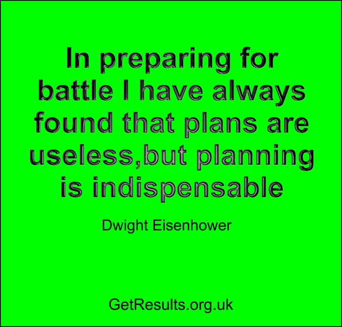 Get Results: planning is indispensable