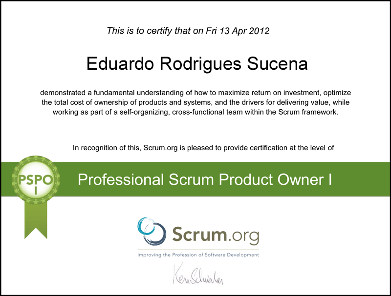 Professional Scrum Product Owner - Eduardo Rodrigue Sucena