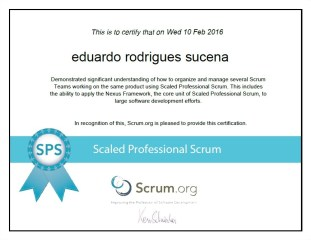 Scaled Professional Scrum - SPS - Certification - Eduardo Rodrigues Sucena