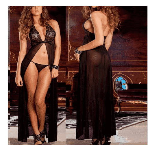 V Neck Long Maxi Chiffon Nightdress Sexy Babydoll Black Sheer Lace Sleepwear With G-string Lingerie Nightgowns