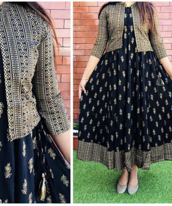 Kurti with gold print with jacket