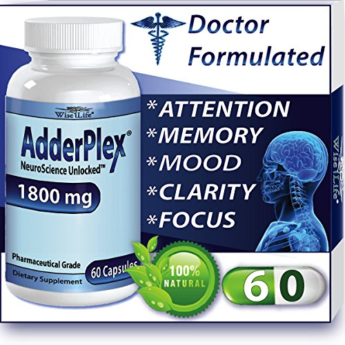 Adderplex to Improve Focus Added Attention, Mood, Increase Memory, Concentration, Mental Energy, DR Formulated Safe Anti-Stress Natural Alternative w/ 250mg of Phosphatidylserine.