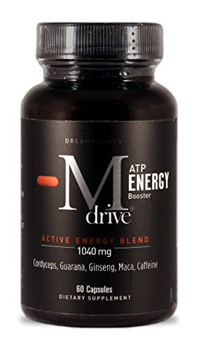 Mdrive ATP Active Energy Pills with Cordyceps, Guarana, Ginseng, Maca and Caffeine