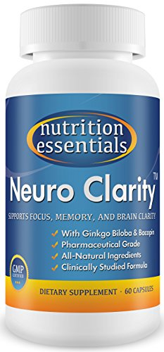Neuro Clarity – All Natural Brain Function Booster! Super Ginkgo Biloba complex with St John's Wort, and Bacopin – Improve Mental Clarity, Focus, Memory and Concentration! Reduce Stress and Anxiety! Pharmaceutical grade BRAIN GAIN and NEURO ENHANCEMENT in a bottle! 60-Day Supply / 1 Bottle – By Nutrition Essentials
