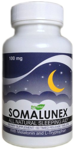 SomaLunex 100mg: Extra Strength Sleeping Pills w/Melatonin, Chamomile, Valerian, & St Johns Wort – 60 Timed Release Tablets