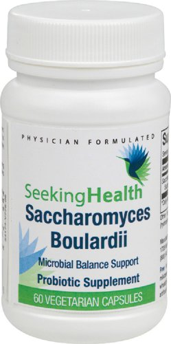 Saccharomyces Boulardii Microbial Support | Potent Dairy-Free Probiotic | 3 Billion CFU's | 60 Easy-To-Swallow Vegetarian Capsules | Seeking Health