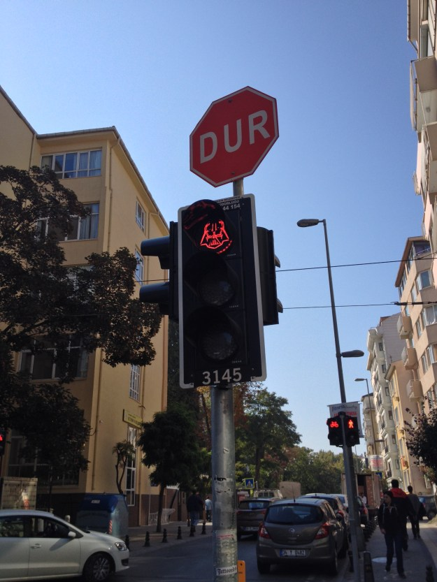Vader on Red light of traffic light in Kadıköy