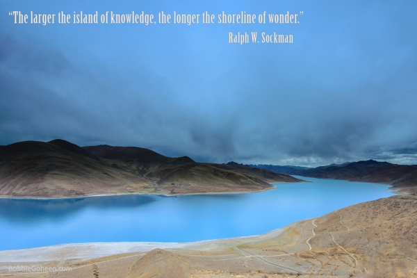 the larger the island of knowledge the longer the shoreline of wonder. Ralph W Stockman