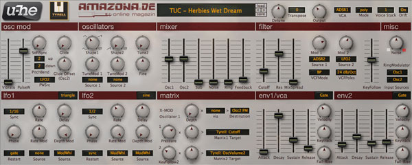 u-he TyrellN6 freeware synth