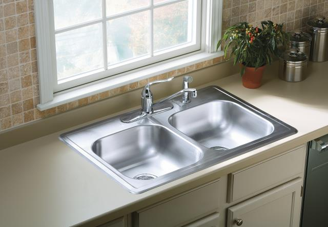 sterling 33 x22 stainless steel pro33226 5f drop in double bowl kitchen sink