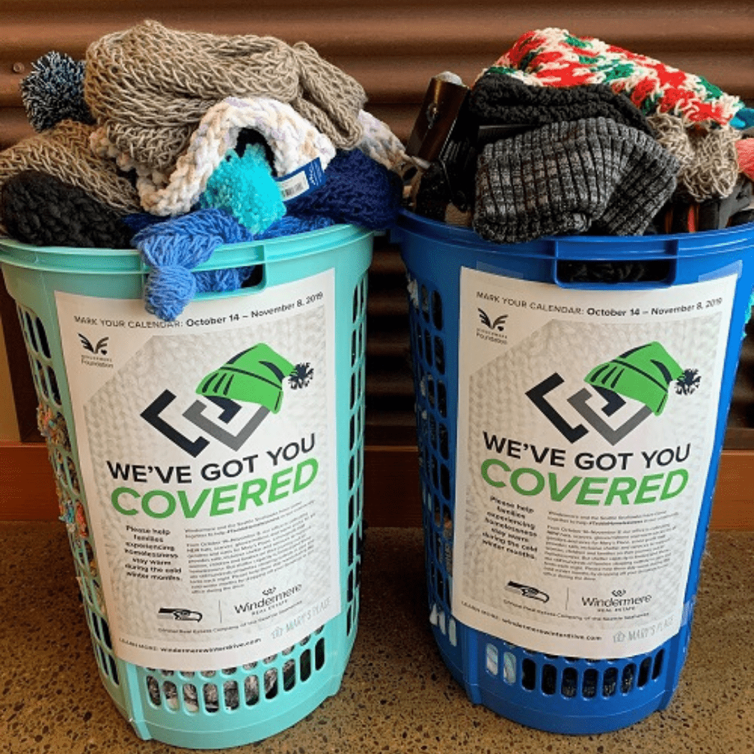 The agents and staff at Windermere Greenwood filled 2 large baskets with 267 winter items!