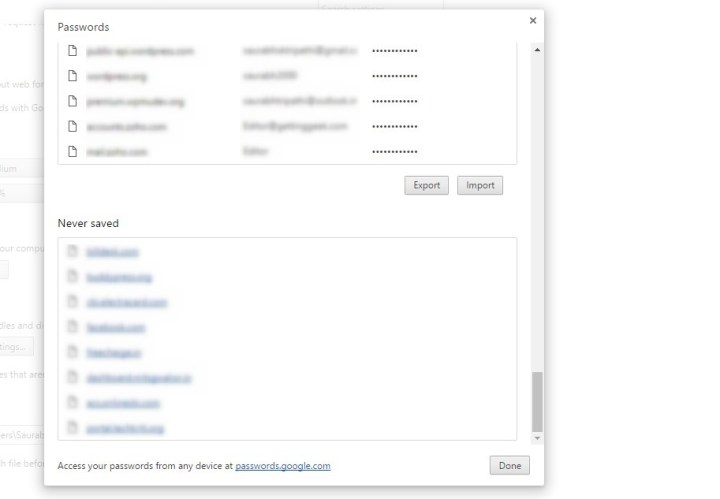 import and export passwords in google chrome