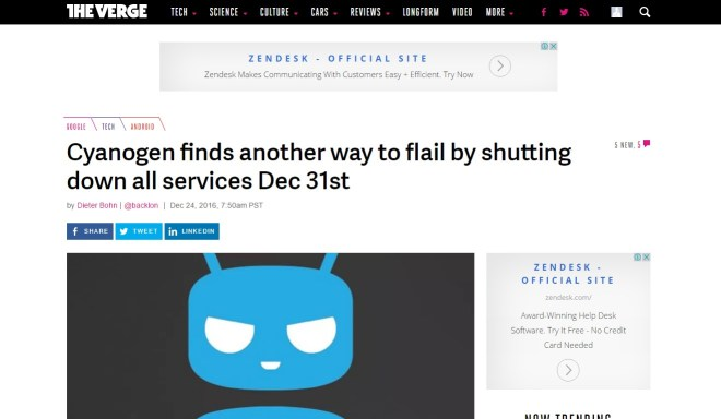 Technology site The Verge