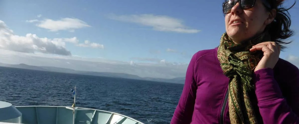 Kate on the ferry to Arran