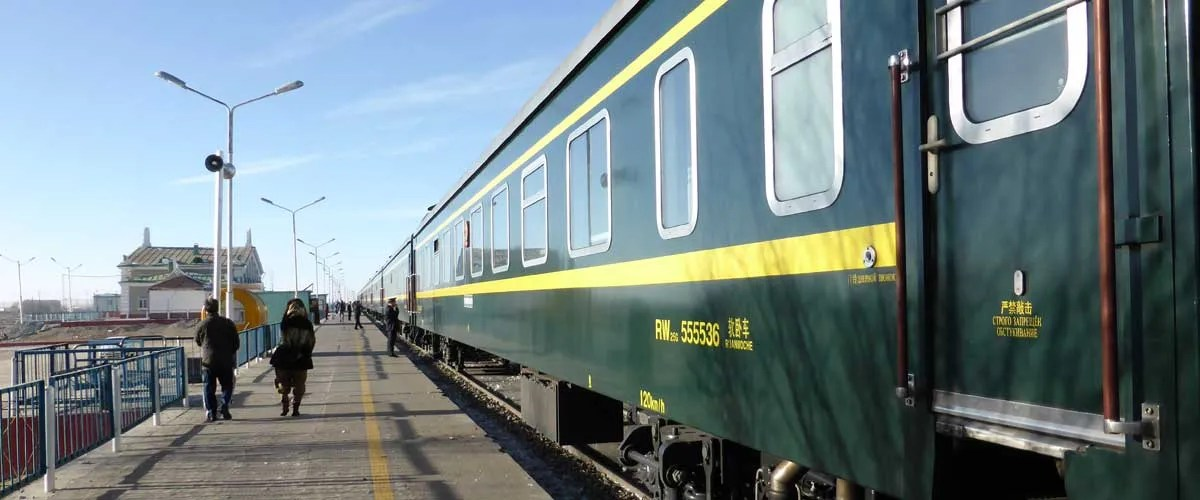 Ulaan Baatar to Beijing train stopped in Sainshand, Mongolia