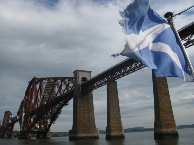 Scottish flag and Forth rail bridge