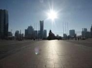 Chinggis Khan Square in smoggy UB