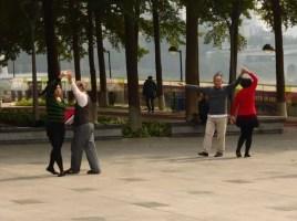 Practising dancing in the park!