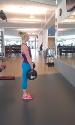 Start here for Upright Row. Hands should be thumbs-width distance.