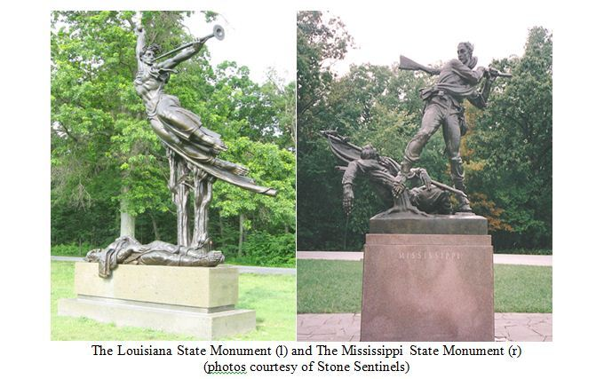 The Louisiana and Mississippi State Monuments