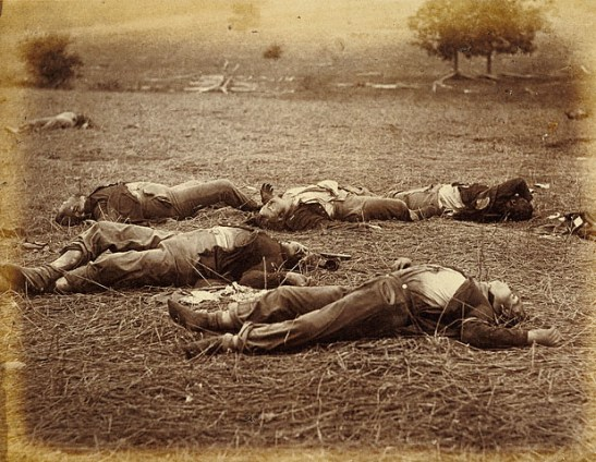 Photo of fallen soldiers taken after the Battle of Gettysburg. Timothy H. O'Sullivan [Public domain], via Wikimedia Commons.