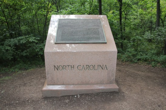 26th North Carolina Infantry Monument, Meredith Avenue at Herbst Woods, Gettysburg Battlefield. Wikimedia Commons.