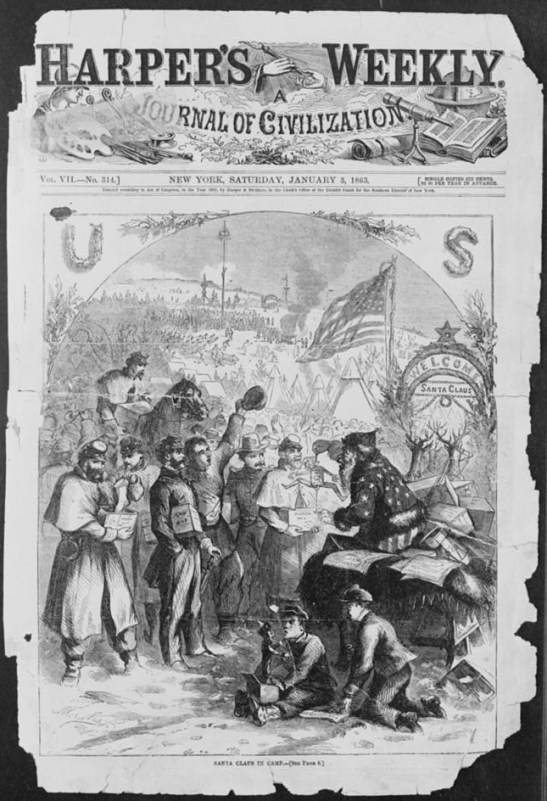 """Santa Claus in camp,"" Harper's Weekly, 3 January 1863. Library of Congress."