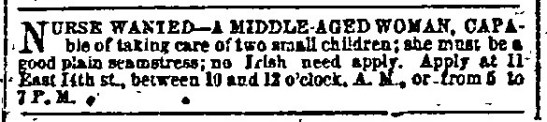 "Wanted advertisement displaying the qualification ""No Irish need apply."" The New York Herald, Vol. XXVIII Issue 186, Page 11. 7 July 1863."