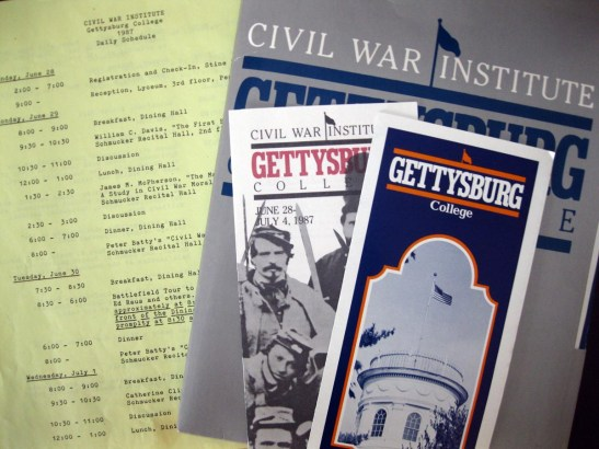 Brochures from the 1987 Civil War Institute Summer Conference.