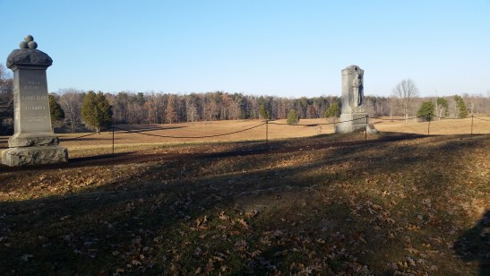 Modern view of the Bloody Angle at Spotsylvania, as seen from behind the Confederate earthworks. Photo credit to the author.