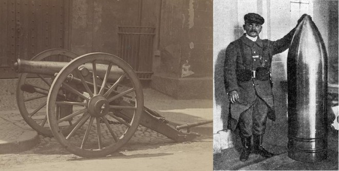 The 12-pounder Napoleon (left) used at Gettysburg served as an instrument of death in the Civil War, but had serious constraints as to range and line of sight firing. The industrial age of the Great War, however, produced heavy artillery such as the French 400mm shell (right) that was capable of miles of indirect fire and caused massive casualties. The Civil War may have barely anticipated some level of industrial warfare, but the comparison ends there. Library of Congress. Wikimedia Commons.