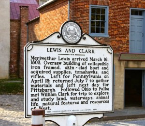 This marker briefly explains Lewis' stop in Harpers Ferry for supplies. In the background of the picture to the right of the display is the Meriwether Lewis at Harpers Ferry Museum. This museum shows visitors one of the many layers of history Harpers Ferry NHP contains. Photo credit Meghan Eaton.