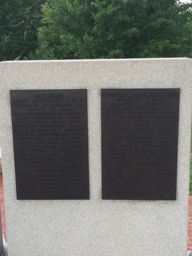 3)Memorializing Confederate and Union units next to each other emphasizes the shared Maryland heritage of men who fought in this battle rather than the political and social differences that divided their allegiances. Photo credit Sam Kauker.