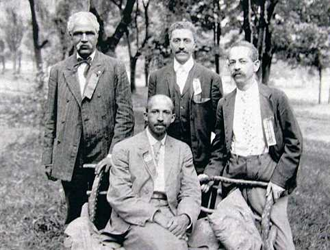 Leaders of the Niagara Movement pose during their 1906 convention in Harpers Ferry. W.E.B. DuBois is seated in the front row. Photo courtesy Wikimedia Commons.
