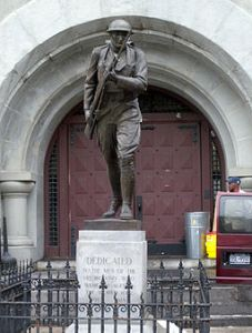 Memorial statue dedicated to the 14th Regiment (New York State Militia). Photograph by Jim Henderson, via Wikimedia Commons.