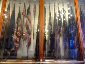 The Civil War battle flags are deteriorating due to improper care and preservation. Photo courtesy of author.