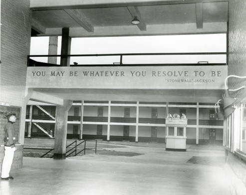 The interior of barracks through Jackson Arch, ca. 1970. Photo via the VMI archives