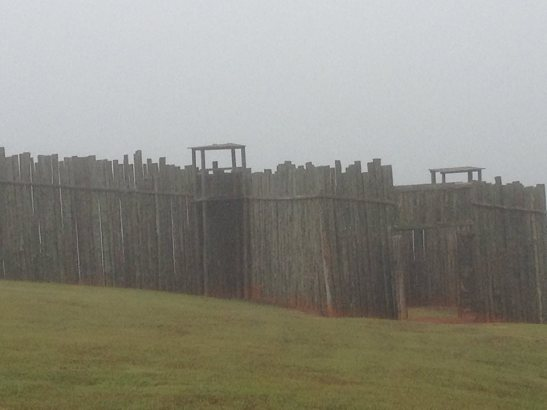 The North Gate stockade on a foggy morning. Photo courtesy of the author.