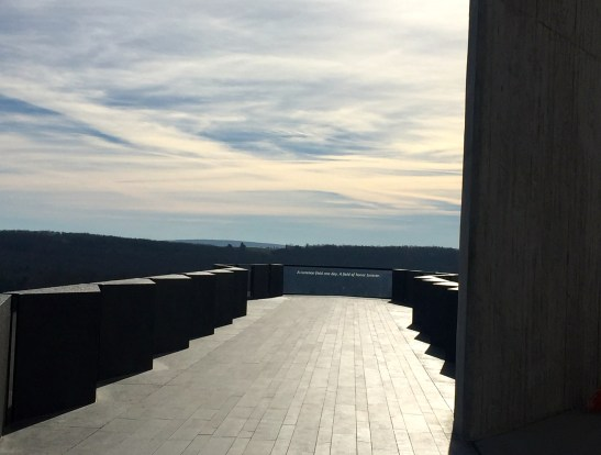 The walkway leads to this overlook looking toward the crash site, declaring that this landscape, once an ordinary field, is now a field of honor. Photo courtesy of author.