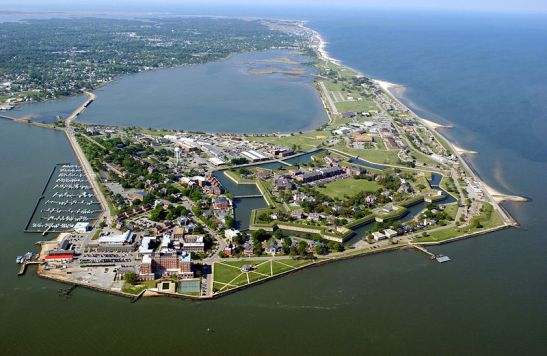 An aerial view of Fort Monroe. Photo courtesy of wikimedia commons.