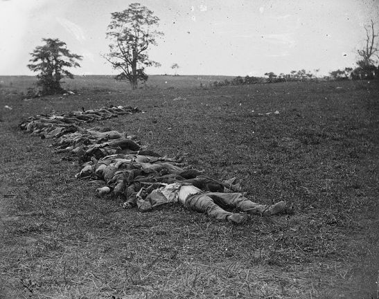 Confederate dead at Antietam. It is unlikely that Emma would have been present at this battle, thus insinuating that the story about the female soldier in her memoir is fiction. Photo via Wikimedia Commons.