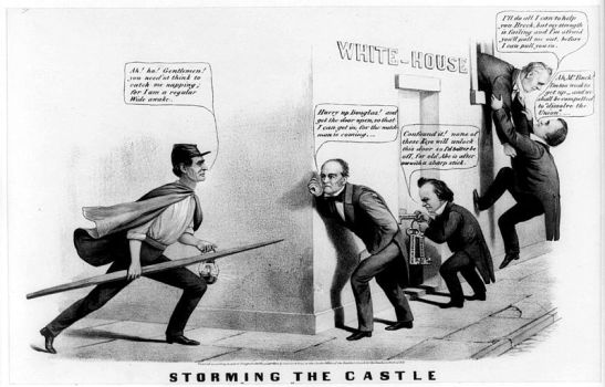 A political cartoon from the 1860 election depictins all four (eventual) candidates, plus the president at the time, James Buchanan. Photo via Wikimedia Commons.