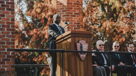 LeVar Burton delivered the keynote address at the 2016 Dedication Day celebration. Photo credit: Gettysburg College