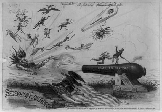 """Secession Exploded,"" an anti-secession political cartoon from a Unionist newspaper published in 1861. Via Library of Congress."