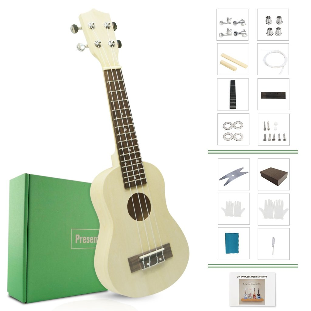 DIY Ukulele Kit Make Your Own Ukulele Soprano Hawaii Ukulele Kit with Installation Tools Screwdriver Spanner Sanding Sponge Model: DU-B (DIY Ukulele)